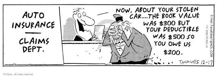 Comic Strip Bob Thaves Tom Thaves  Frank and Ernest 1996-12-17 insurance payment
