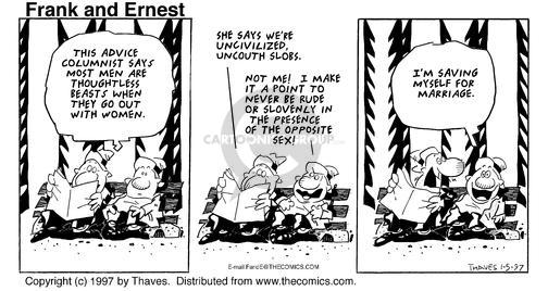 Cartoonist Bob Thaves Tom Thaves  Frank and Ernest 1997-01-05 dater
