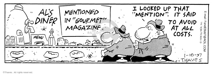 Comic Strip Bob Thaves Tom Thaves  Frank and Ernest 1997-01-10 criticism