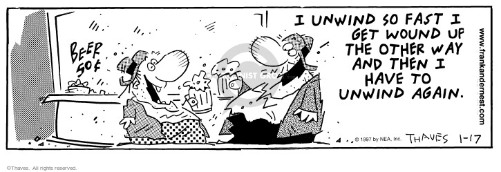 Cartoonist Bob Thaves Tom Thaves  Frank and Ernest 1997-01-17 lounge