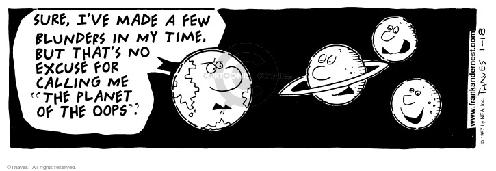 Comic Strip Bob Thaves Tom Thaves  Frank and Ernest 1997-01-18 physics