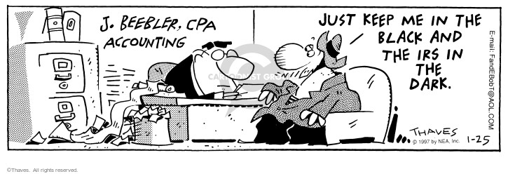 Comic Strip Bob Thaves Tom Thaves  Frank and Ernest 1997-01-25 tax