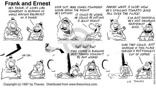 Cartoonist Bob Thaves Tom Thaves  Frank and Ernest 1997-02-02 coffee
