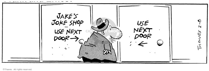 Comic Strip Bob Thaves Tom Thaves  Frank and Ernest 1997-02-08 store sign