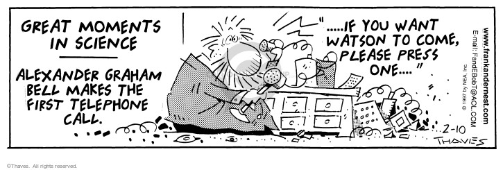 Cartoonist Bob Thaves Tom Thaves  Frank and Ernest 1997-02-10 Alexander Graham Bell