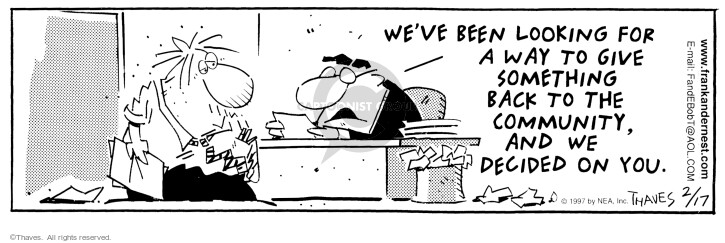 Comic Strip Bob Thaves Tom Thaves  Frank and Ernest 1997-02-17 something