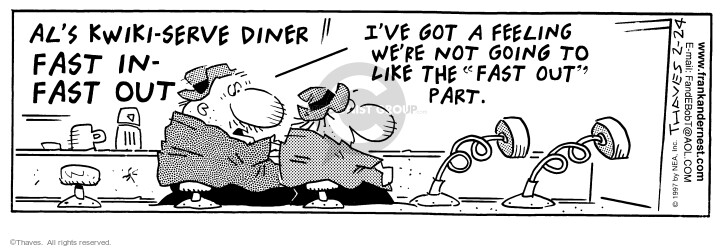Cartoonist Bob Thaves Tom Thaves  Frank and Ernest 1997-02-24 counter