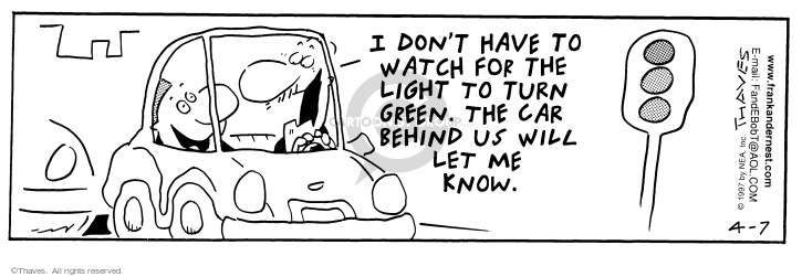 Comic Strip Bob Thaves Tom Thaves  Frank and Ernest 1997-04-07 red light