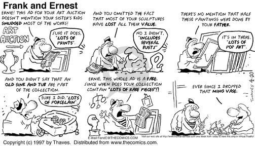 Cartoonist Bob Thaves Tom Thaves  Frank and Ernest 1997-04-20 Lost