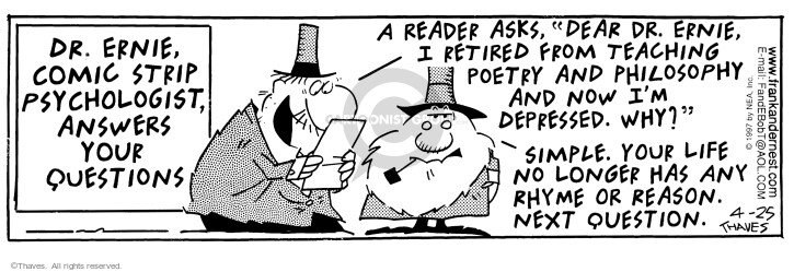 Cartoonist Bob Thaves Tom Thaves  Frank and Ernest 1997-04-25 wise man