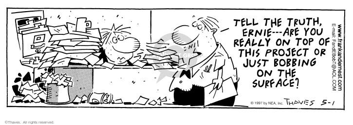 Comic Strip Bob Thaves Tom Thaves  Frank and Ernest 1997-05-01 employee