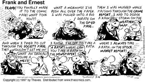 Comic Strip Bob Thaves Tom Thaves  Frank and Ernest 1997-05-04 debate