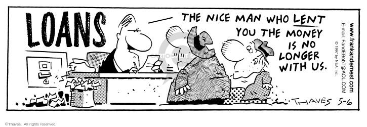 Comic Strip Bob Thaves Tom Thaves  Frank and Ernest 1997-05-06 liability