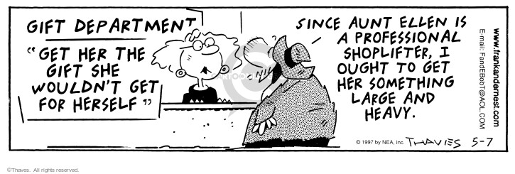 Comic Strip Bob Thaves Tom Thaves  Frank and Ernest 1997-05-07 department