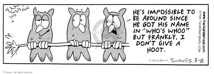 Comic Strip Bob Thaves Tom Thaves  Frank and Ernest 1997-05-08 tree branch