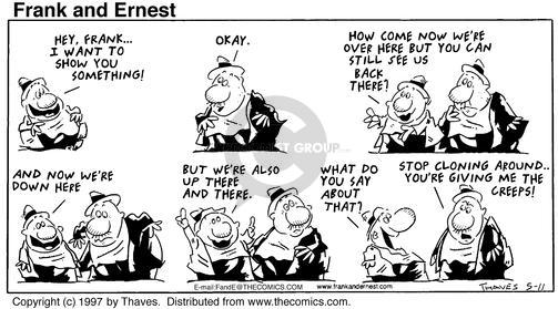 Cartoonist Bob Thaves Tom Thaves  Frank and Ernest 1997-05-11 stop