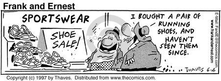 Cartoonist Bob Thaves Tom Thaves  Frank and Ernest 1997-06-04 fitness clothes