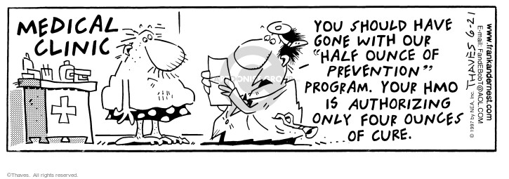 Cartoonist Bob Thaves Tom Thaves  Frank and Ernest 1997-06-21 policy