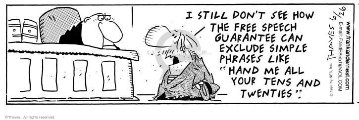 Cartoonist Bob Thaves Tom Thaves  Frank and Ernest 1997-06-26 phrase