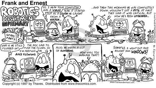 Comic Strip Bob Thaves Tom Thaves  Frank and Ernest 1997-07-06 operating system
