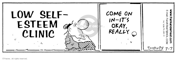 Comic Strip Bob Thaves Tom Thaves  Frank and Ernest 1997-07-07 sign