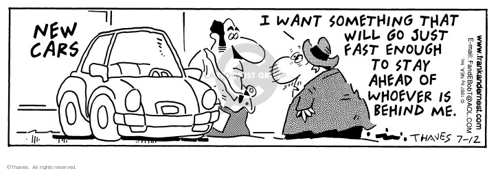 Comic Strip Bob Thaves Tom Thaves  Frank and Ernest 1997-07-12 automobile dealership