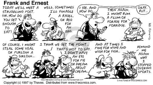 Cartoonist Bob Thaves Tom Thaves  Frank and Ernest 1997-07-13 stop