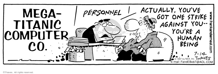 Comic Strip Bob Thaves Tom Thaves  Frank and Ernest 1997-07-14 office computer