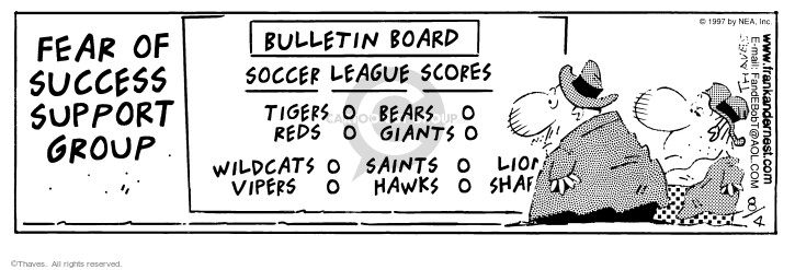 Comic Strip Bob Thaves Tom Thaves  Frank and Ernest 1997-08-04 sports score