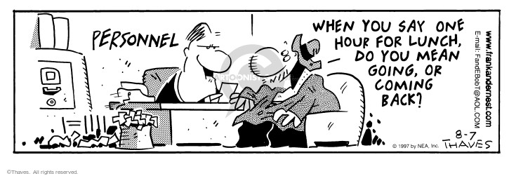 Comic Strip Bob Thaves Tom Thaves  Frank and Ernest 1997-08-07 employment work