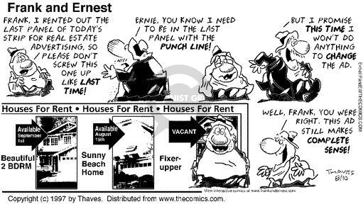 Comic Strip Bob Thaves Tom Thaves  Frank and Ernest 1997-08-10 real estate sale