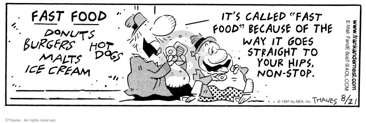 Cartoonist Bob Thaves Tom Thaves  Frank and Ernest 1997-08-21 stop