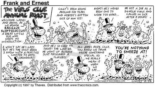 Comic Strip Bob Thaves Tom Thaves  Frank and Ernest 1997-08-24 virus