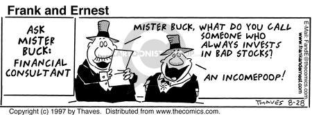 Comic Strip Bob Thaves Tom Thaves  Frank and Ernest 1997-08-28 invest