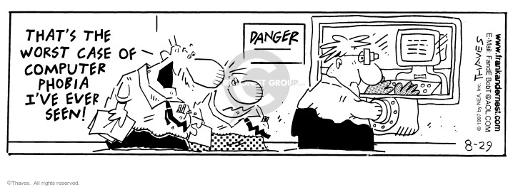 Comic Strip Bob Thaves Tom Thaves  Frank and Ernest 1997-08-29 office computer