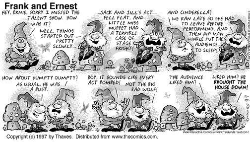 Comic Strip Bob Thaves Tom Thaves  Frank and Ernest 1997-09-07 fall down