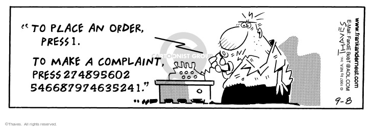 Comic Strip Bob Thaves Tom Thaves  Frank and Ernest 1997-09-08 telephone number