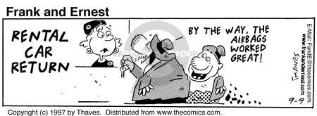 Comic Strip Bob Thaves Tom Thaves  Frank and Ernest 1997-09-09 automobile safety