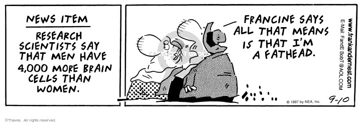 Comic Strip Bob Thaves Tom Thaves  Frank and Ernest 1997-09-10 relationship