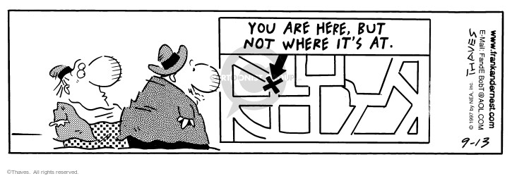 Comic Strip Bob Thaves Tom Thaves  Frank and Ernest 1997-09-13 sign
