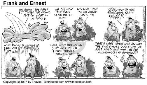 Comic Strip Bob Thaves Tom Thaves  Frank and Ernest 1997-09-14 paper