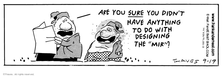 Comic Strip Bob Thaves Tom Thaves  Frank and Ernest 1997-09-19 have trouble