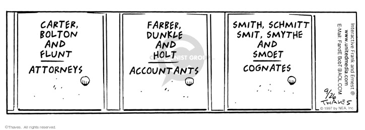 Comic Strip Bob Thaves Tom Thaves  Frank and Ernest 1997-09-26 sign