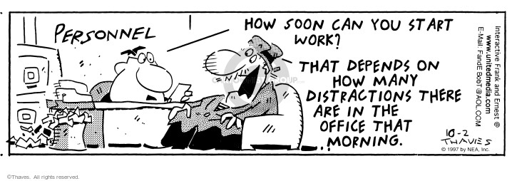 Comic Strip Bob Thaves Tom Thaves  Frank and Ernest 1997-10-02 job interview