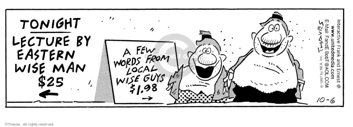 Comic Strip Bob Thaves Tom Thaves  Frank and Ernest 1997-10-06 guidance