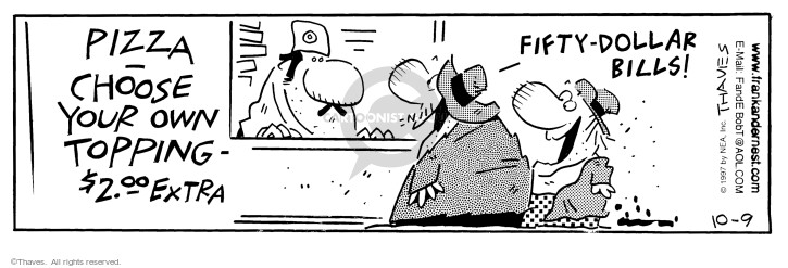 Comic Strip Bob Thaves Tom Thaves  Frank and Ernest 1997-10-09 customer