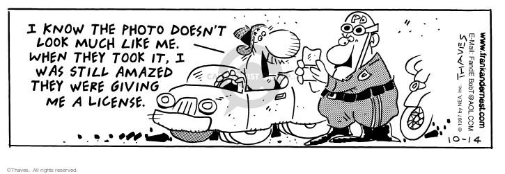 Comic Strip Bob Thaves Tom Thaves  Frank and Ernest 1997-10-14 speeding ticket