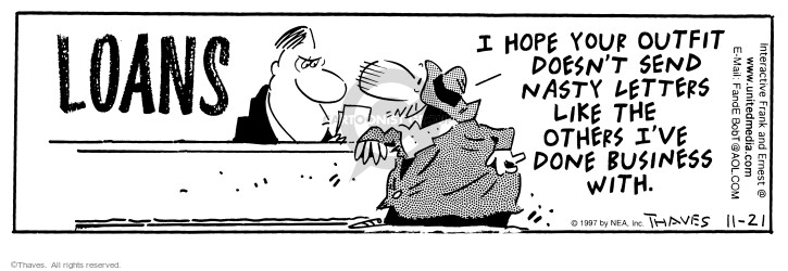 Comic Strip Bob Thaves Tom Thaves  Frank and Ernest 1997-11-21 nasty