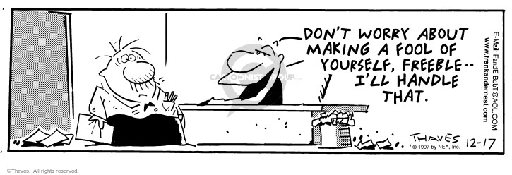 Comic Strip Bob Thaves Tom Thaves  Frank and Ernest 1997-12-17 employee