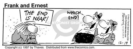 Comic Strip Bob Thaves Tom Thaves  Frank and Ernest 1997-12-19 sign